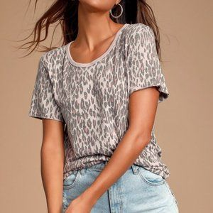 Free People Tourist Leopard Print Tee Shirt